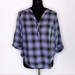 Torrid black gray plaid flannel henley style top size 00